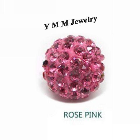 10MM Crystal Disco Balls Loose Spacer Beads Rose Pink Pave Rhinestone Beads Wholesale
