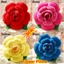 Wholesale Novelty Toys Car Decor - Novelty Colorfull Rose Flower Shape Bed Sofa Chair Car Seat Nap Throw Cushion Lumbar Pillow Lover Wedding Gift Present Party Decor Toy