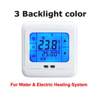 Wholesale heating controller for sale - Group buy LCD Touch Screen Programmable Digital Underfloor Heating Thermostat with Floor Air Sensor v and v for option