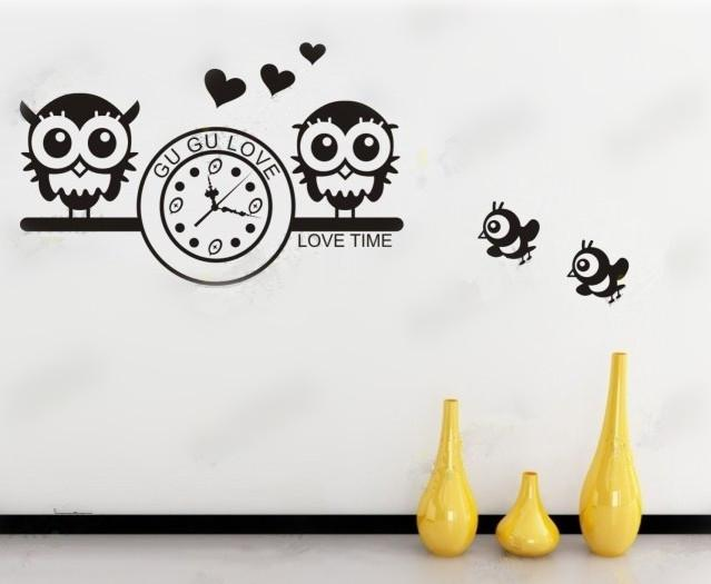 Brand New Wall Decoration Wall Art Owl And Clock Design Wall - Wall decals clock