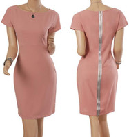 Wholesale Wholesale Dress Women Career Work - Celebrity Style Women Fashion Career Dress OL Pink Short Sleeve dresses Cultivate one's temperament Back zipper dress
