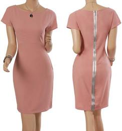 Wholesale Wholesale Dress Women Career Work - Celebrity Style Women Fashion Career Dress OL Pink Short Sleeve dresses Cultivate one's temperament Back zipper dress