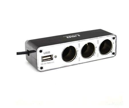 New Black 3 Way Auto Car Cigarette Lighter Socket Splitter 12V Charger Power Adapter Plug DC 12V + USB Control