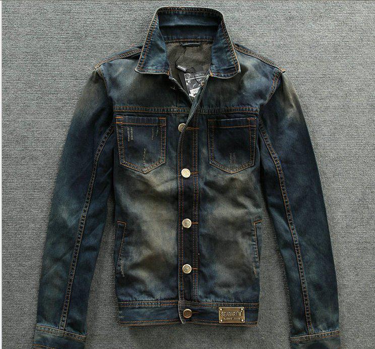 2013 Dark Blue Retro Casual Men's Denim Jacket 101002 Denim Jacket ...