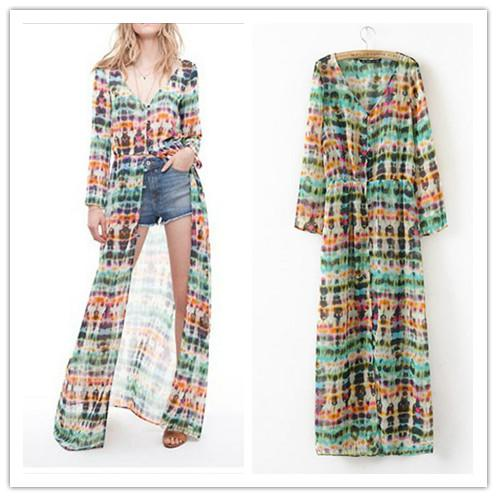 Fashion Women's Chiffon Cardigan Dress Retro Tie Dye Maxi Dress ...
