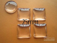 Wholesale Glass Domes For Crafts - 100 Clear Square Cabochon Glass Dome Tile Seals 25mm For Photo Craft Jewelry Make Free shipping