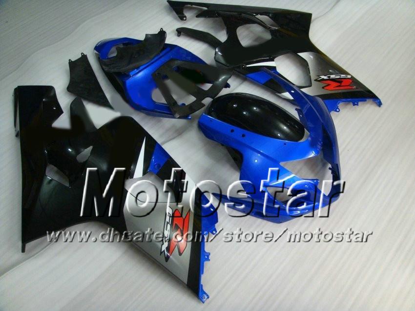 Carroçaria azul preta para SUZUKI GSXR 600 750 K4 2004 2005 GSXR600 GSXR750 04 05 Conjunto de carenagem de alta qualidade R600 R750