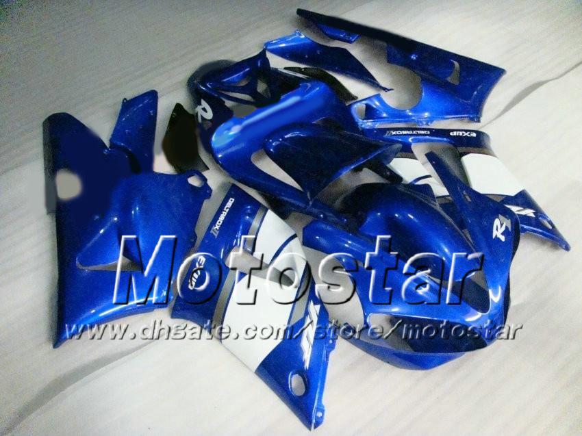 7 선물 맞춤형 레이싱 오토바이 페어링 for YAMAHA 2000 2001 YZF-R1 00 01 YZFR1 00 01 YZF R1 YZFR1000 광택 블루 페어링 세트 zs92