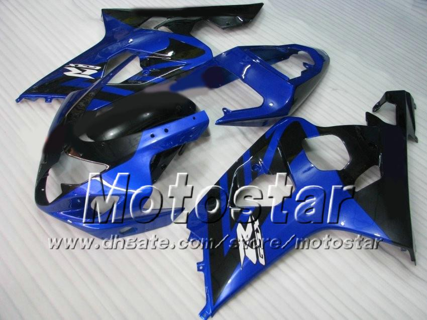 Aangepaste carrosserie voor Suzuki GSXR 600 750 K4 2004 2005 GSXR600 GSXR750 04 05 R600 R750 Zwart Blauwe Carrosserie Set
