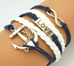 Wholesale Direction Infinity Bracelet - Free Shipping Hot Blue Cord Handmade Friendship Bracelet Antique Silver Metal Infinity Love Anchor One Direction Charm Leather Bracelet