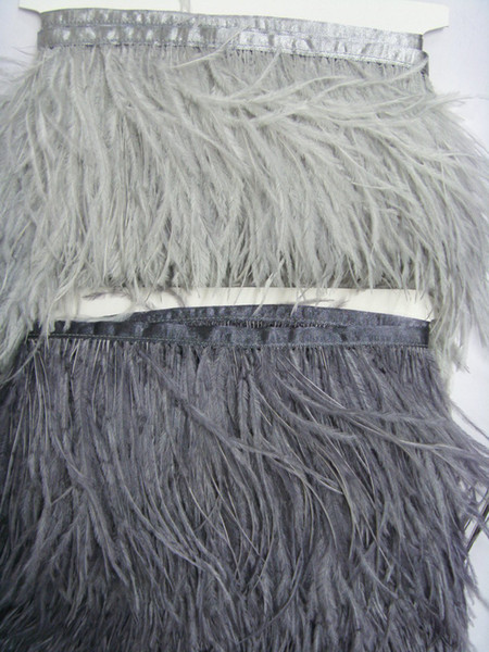 best selling Free Shipping 10 yards lot 1 ply light gray&dark gray ostrich feather trimming fringe on Satin Header 5- 6inch(12-15cm) in width(Tip to Tip)