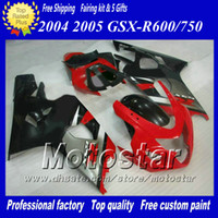 Wholesale Race Gsxr - Red black gray racing fairing kit for SUZUKI GSXR 600 750 K4 2004 2005 GSXR600 GSXR750 04 05 R600 R750 high grade ABS Plastic fairing kit