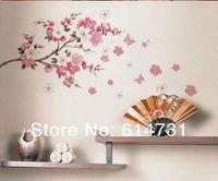 Wholesale Modern Cherry Blossom Decor - Flowers Butterfly wall sticker sakura butterfly wall paper Cherry Blossom wall decor Removable Wall Sticker