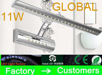 Wholesale Makeup Mirror Bulb - cosmetic lamp steel bathroom mirror cabinet mirror light makeup shaking 11W 5050 SMD 36 Leds his head lights with switch office home bulb