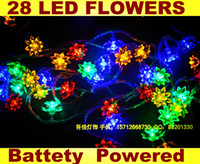 Wholesale Rgb Led Net Lights - Free Shipping Romantic Outdoor Indoor 4M 28 LED Flower Blossom String Lights 220V 110V Multi Colors RGB 8 functions