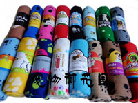 Wholesale Puppy Dog Towels - 10pcs lot Hot Sell Cute Soft Warm Towel Paw Prints Pet Puppy Dog Cat Fleece Blanket Mat 60x70cm V329