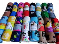 couvertures imprimées par chien achat en gros de-10pcs / lot Vente chaude Cute Soft Wap Towel Paw Prints Pet Chien de chien Dog Fleece Blanket Mat 60x70cm V329