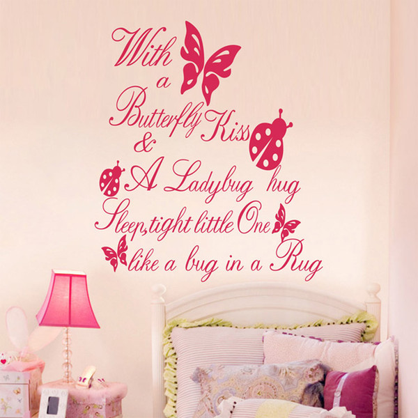 Kids room butterfly wall quotes vinyl wall stickers 55x60cm wall art stickers nursery wall decals baby