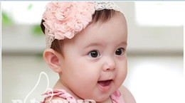 Wholesale Pink Flower Hair Band - 50%Off Baby Headbands MOQ:10pcs Korean Hair bands Hair accessories Roses with Princess flower head