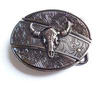 Wholesale Wholesale Antique Knives - Antique Style Bull Skull with Knife Belt Buckle SW-B435,brand new condition free shipping