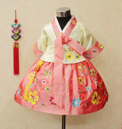 Wholesale Baby Clothes Wholesale Korea - Korean Toddler Girls Clothing Baby Girls Embroider Korea Hanbok Girl Korean Tranditional Dresses B0097
