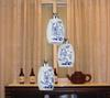 Classical Chinese Style Blue And White Porcelain Pastoral Pendant Light Living Room Chandelier 24*80cm