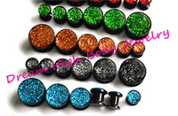 Wholesale Acrylic Glitter Plugs - Newest Flesh Tunnel Ear Plug glitter multicolour Screw Fit Wear Ear Expander Black Acrylic 6colors 5-14mm Hot Sale Earring Popular Body NAIL