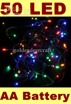 Outdoor Indoor 50 LED RGB String Lights Battery Operated Powered Holiday Christmas  Lighting New Year Wedding Decorations Party String Lights Bulb String ... - Outdoor Indoor 50 LED RGB String Lights Battery Operated Powered