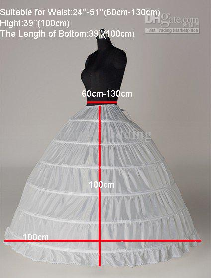 Wit 6 hoepel petticoat crinoline slip underskirt bruids baljurk bruidsjurk petticoats in voorraad hete verkoop