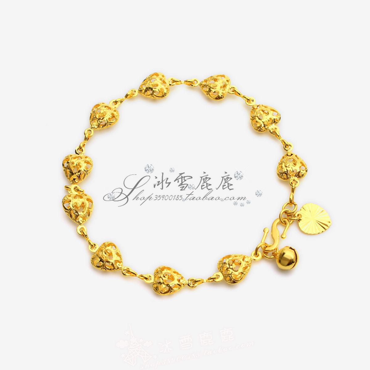 2018 Hong Kong Gold Shop New Double Heart Bracelet Bridal Wedding