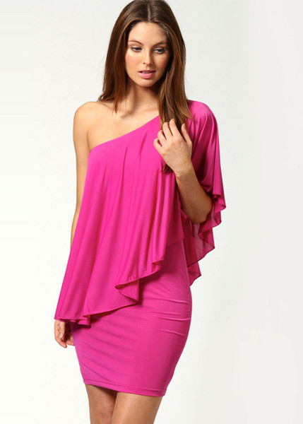 In Stock! Tight Fitted One Shoulder Dress For Women Rose Mini ...