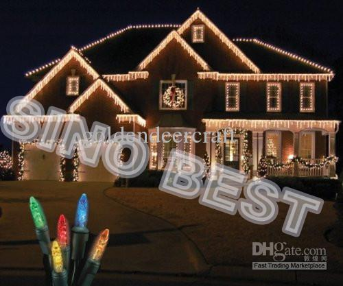 Outdoor 110 Led Icicle Lights Christmas Holiday Fairy Lighting Wedding Party New Year S Decorations For Garden With Connectors Cheap String Lights