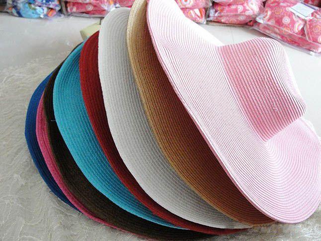 Hot vente 2017 mode pliant vide chapeau de soleil pour les femmes sun caps été plage chapeaux de paille multicolore Beach Cap