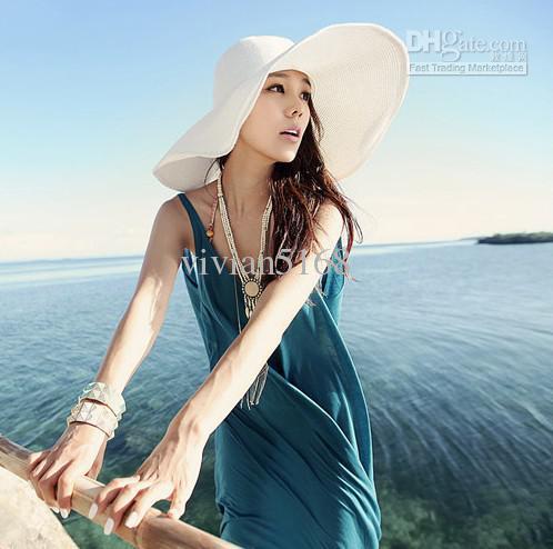 Berretto da spiaggia Hawaii Ampia ampia floppy Tesa da spiaggia estiva da sole Cappello da spiaggia con derby in paglia Cappello da sole flessibile con cappello flessibile da sole