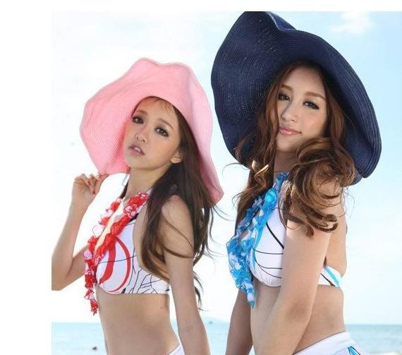 Hawaii hot fashion dames opvouwbare wijd grote rand floppy zomer strand zon stro hat dop gratis verzending