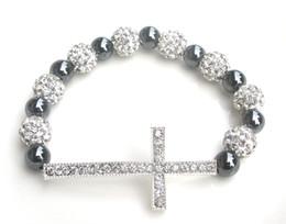 Wholesale Hematite Crosses - 12 pcs per lot women's fashion handmade shine silver cross alloy charms silver shambala and hematite adjustable bracelet jewelry