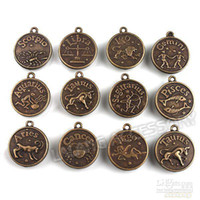 Wholesale Assorted Bronze Pendants - 36pcs lot, Assorted Alloy Zodiac Stamped Charms Vintage Bronze Pendants Bronze Constellation Pendant