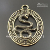 Antique Style Bronze Tone Snake In Circle Alloy Charm Pendan...