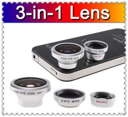 Wholesale S3 Fisheye - Universal general 3 in 1 lens 180 degree Fisheye Lens + Macro Lens + Wide-angle Lens optical Lens for iphone 4 5 5C 5S samsung S3 S4