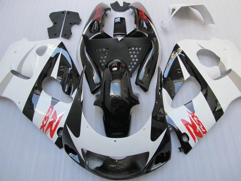 Gloss White Black Fairing Kit för Suzuki GSXR 600 750 1996 1997 1998 1999 2000 GSXR600 GSXR750 96 97 98 99