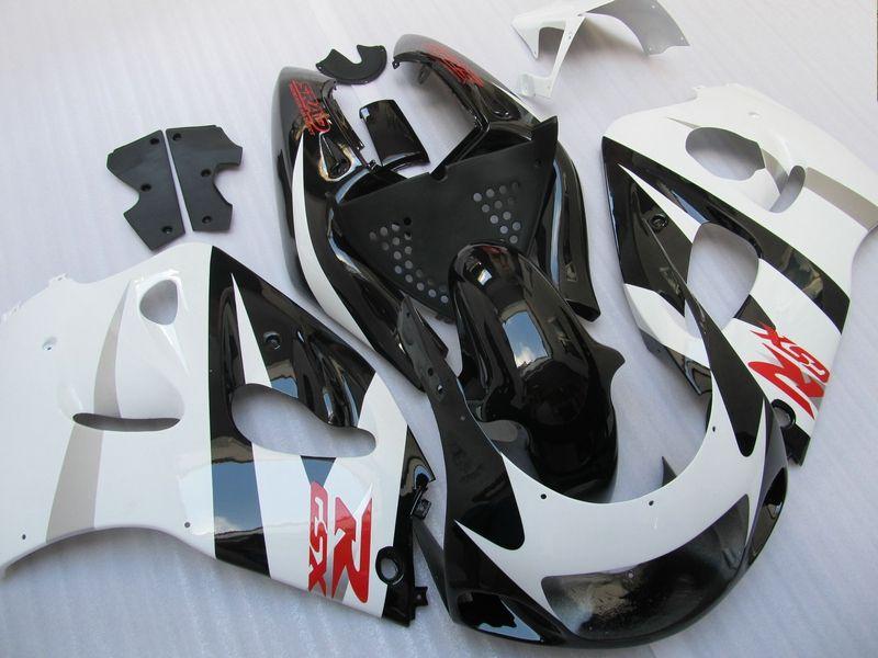 Kit de carénage noir blanc brillant pour Suzuki GSXR 600 750 1997 1997 1998 1999 2000 GSXR600 GSXR750 96 97 98 99