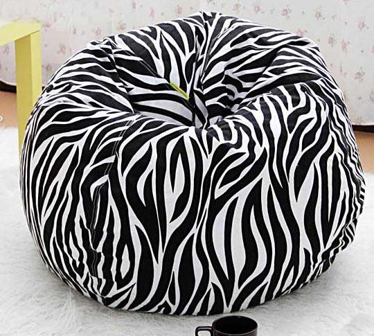 2019 Round Zebra Strip Beanbag Chair Adults Sitting Bean