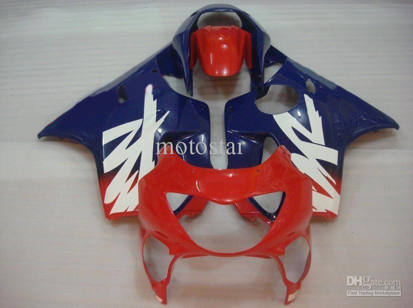 Personnaliser gratuitement Kit carrosserie pour HONDA CBR600 F4 1999 2000 CBR 600 CBR600F CBR600F4 99 00 ensemble carénage rouge bleu