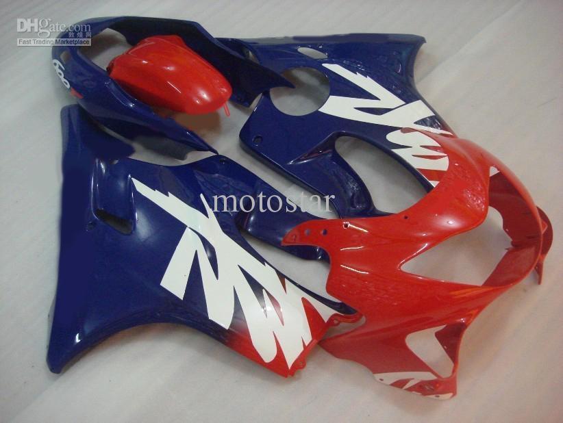 Anpassa Free Body Kit för Honda CBR600 F4 1999 2000 CBR 600 CBR600F CBR600F4 99 00 Fairing Set Red Blue