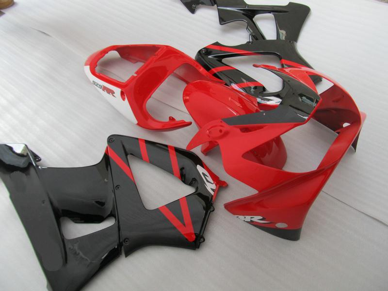 Anpassa Red Black Airing Kit för Honda CBR900RR 929 2000 2001 CBR900 929RR CBR929 00 01 CBR929RR Kropp Reparation Fairings Parts