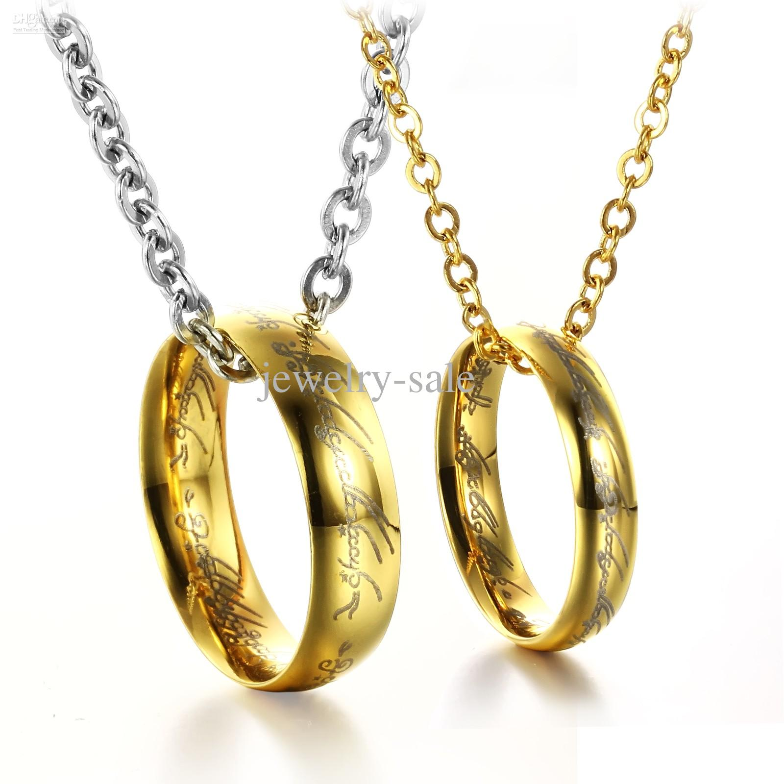 COUPLE RINGS NECKLACE Lord Of The Rings Hobbit Gold ...