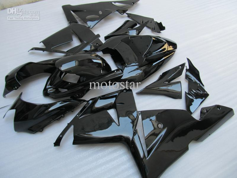 Customized paint fairings For 2004 2005 Kawasaki Ninja ZX 10R 04 05 ZX-10R 2004 2005 ZX10R all glossy Black ABS Fairing kit Set 781A