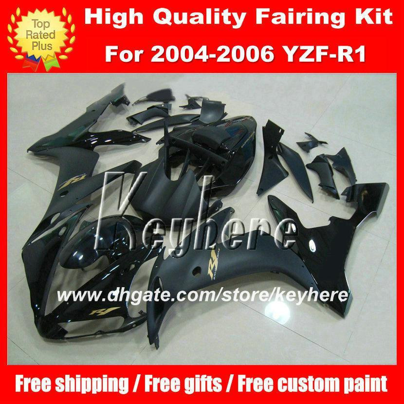 Kit de carénage en plastique ABS personnalisé bricolage pour YAMAHA YZF1000R 2004 2005 2006 YZF R1 YZFR1 04 05 06 carénage plat brillant noir G2A pièces de moto