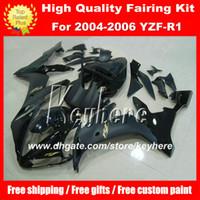 piezas de carenado moto yamaha al por mayor-Kit de Carenado de Plástico ABS DIY personalizado para YAMAHA YZF1000R 2004 2005 2006 YZF R1 YZFR1 04 05 06 carenados de piezas de la motocicleta G2A negro brillante plano