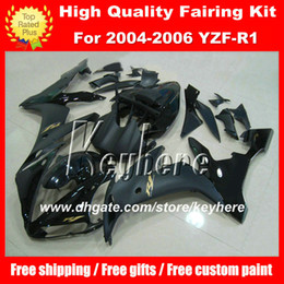 Wholesale Yamaha R1 Custom Fairings - Custom DIY ABS plastic Fairing kit for YAMAHA YZF1000R 2004 2005 2006 YZF R1 YZFR1 04 05 06 fairings flat glossy black G2A motorcycle parts